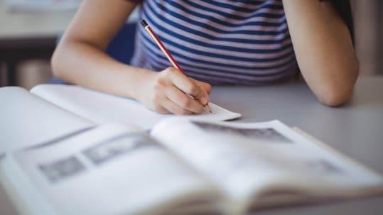Closeup of schoolgirl studying in classroom