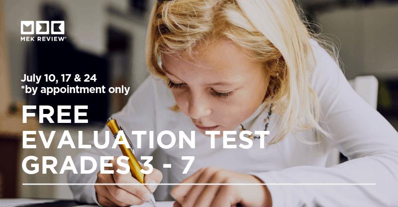 Free Evaluation Test for Grades 3-7